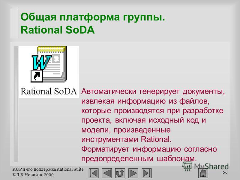 RUP и его поддержка Rational Suite ©Л.Б.Новиков, 2000 56 Общая платформа группы. Rational SoDA Автоматически генерирует документы, извлекая информацию из файлов, которые производятся при разработке проекта, включая исходный код и модели, произведенны