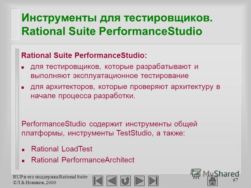 RUP и его поддержка Rational Suite ©Л.Б.Новиков, 2000 67 Инструменты для тестировщиков. Rational Suite PerformanceStudio Rational Suite PerformanceStudio: n для тестировщиков, которые разрабатывают и выполняют эксплуатационное тестирование n для архи