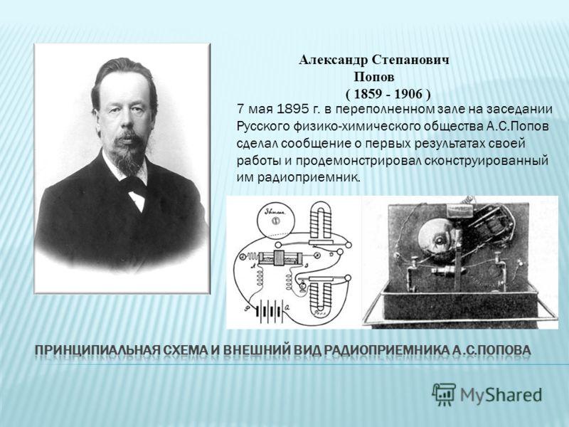 7 мая 1895 г. в переполненном зале на заседании Русского физико-химического общества А.С.Попов сделал сообщение о первых результатах своей работы и продемонстрировал сконструированный им радиоприемник. Александр Степанович Попов ( 1859 - 1906 )