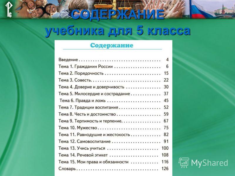СОДЕРЖАНИЕ учебника для 5 класса