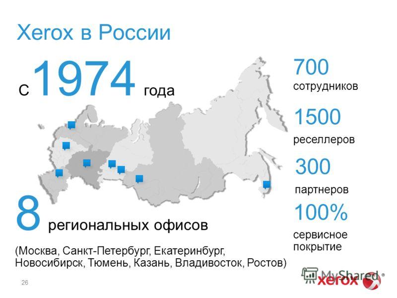 Xerox в России 26 8 региональных офисов (Москва, Санкт-Петербург, Екатеринбург, Новосибирск, Тюмень, Казань, Владивосток, Ростов) 700 сотрудников 1500 реселлеров 300 партнеров 100% сервисное покрытие С 1974 года