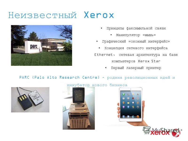Неизвестный Xerox Принципы факсимильной связи Манипулятор «мышь» Графический «оконный интерфейс» Концепция сетевого интерфейса Ethernet, сетевая архитектура на базе компьютеров Xerox Star Первый лазерный принтер PARC (Palo Alto Research Centre) – род