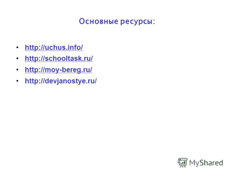 Основные ресурсы: http://uchus.info/ http://schooltask.ru/ http://moy-bereg.ru/ http://devjanostye.ru/