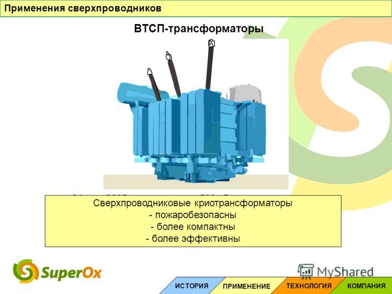 ВТСП-трансформаторы Применения сверхпроводников ТЕХНОЛОГИЯ ИСТОРИЯ ПРИМЕНЕНИЕ КОМПАНИЯ 24 мая 2005 года: пожар на 500 кВ энергоподстанции «Чагино» привел к отключению электроэнергии в половине районов Москвы и нескольких районах Подмосковья. Сверхпро