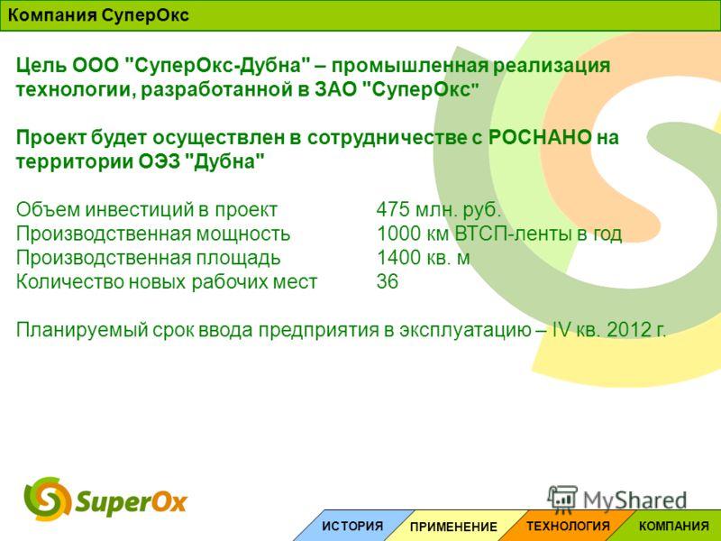 Компания СуперОкс ТЕХНОЛОГИЯ ИСТОРИЯ ПРИМЕНЕНИЕ КОМПАНИЯ Цель OOО
