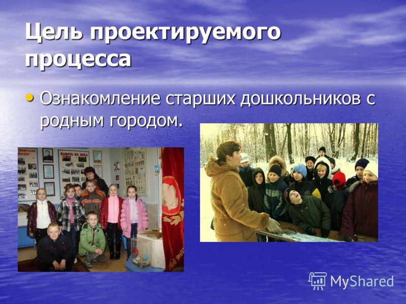 Цель проектируемого процесса Ознакомление старших дошкольников с родным городом. Ознакомление старших дошкольников с родным городом.