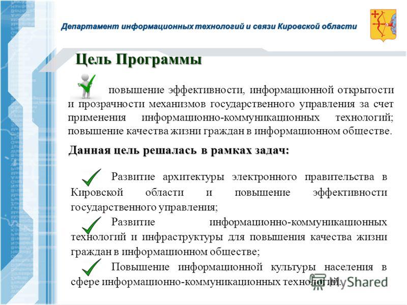 Развитие архитектуры электронного правительства в Кировской области и повышение эффективности государственного управления; Развитие информационно-коммуникационных технологий и инфраструктуры для повышения качества жизни граждан в информационном общес