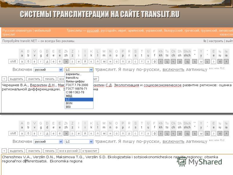 СИСТЕМЫ ТРАНСЛИТЕРАЦИИ НА САЙТЕ TRANSLIT.RU