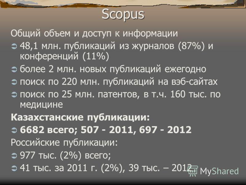 Scopus Общий объем и доступ к информации 48,1 млн. публикаций из журналов (87%) и конференций (11%) более 2 млн. новых публикаций ежегодно поиск по 220 млн. публикаций на вэб-сайтах поиск по 25 млн. патентов, в т.ч. 160 тыс. по медицине Казахстанские