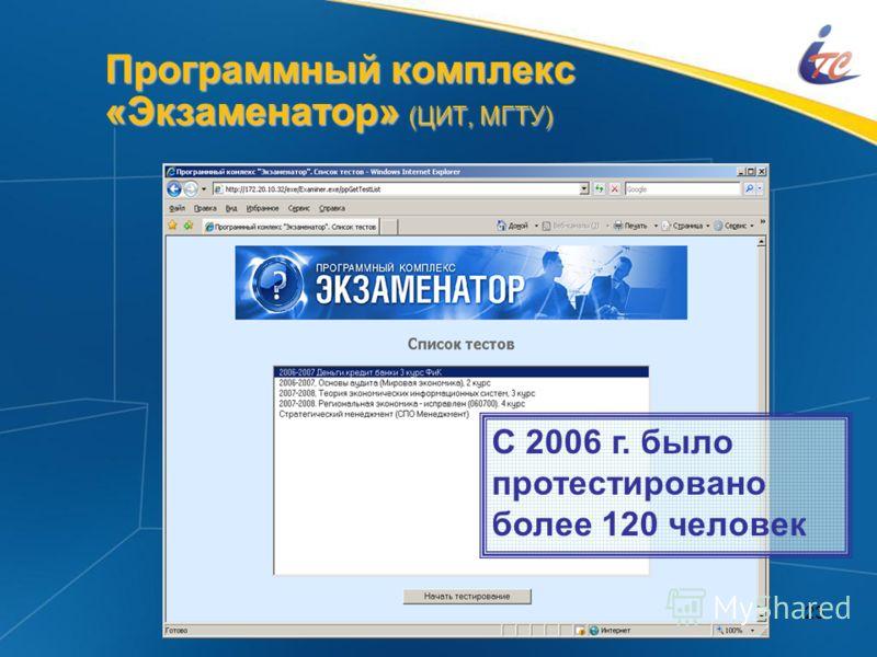 23 Программный комплекс «Экзаменатор» (ЦИТ, МГТУ) С 2006 г. было протестировано более 120 человек