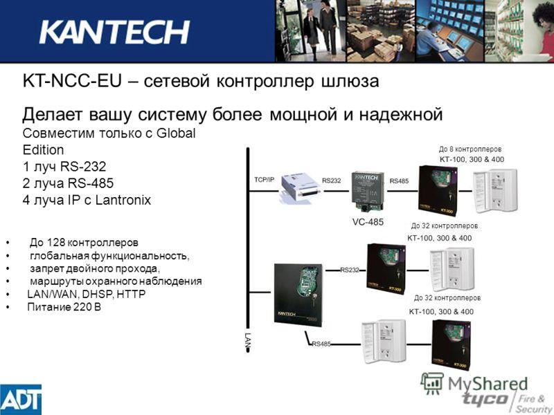 KT-NCC-EU – сетевой контроллер шлюза Делает вашу систему более мощной и надежной Совместим только с Global Edition 1 луч RS-232 2 луча RS-485 4 луча IP с Lantronix До 128 контроллеров глобальная функциональность, запрет двойного прохода, маршруты охр