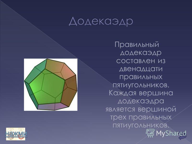 Правильный додекаэдр составлен из двенадцати правильных пятиугольников. Каждая вершина додекаэдра является вершиной трех правильных пятиугольников.