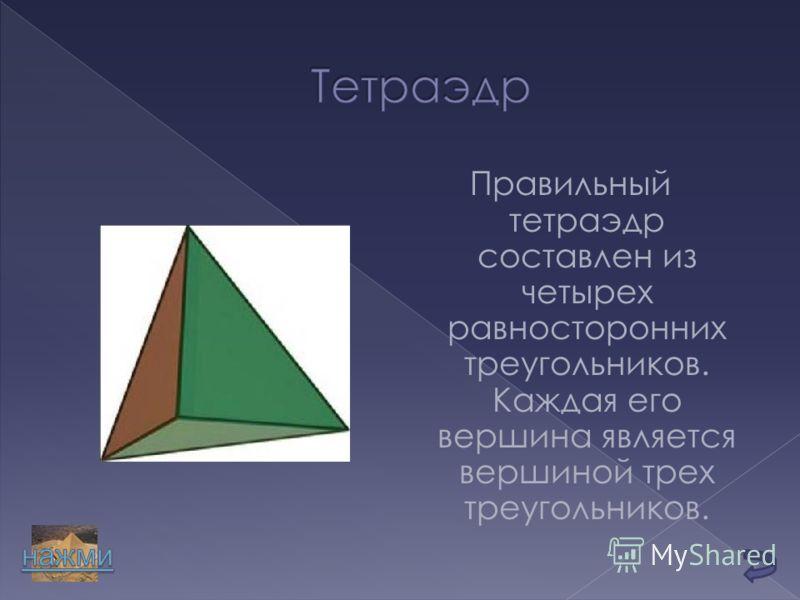 Правильный тетраэдр составлен из четырех равносторонних треугольников. Каждая его вершина является вершиной трех треугольников.