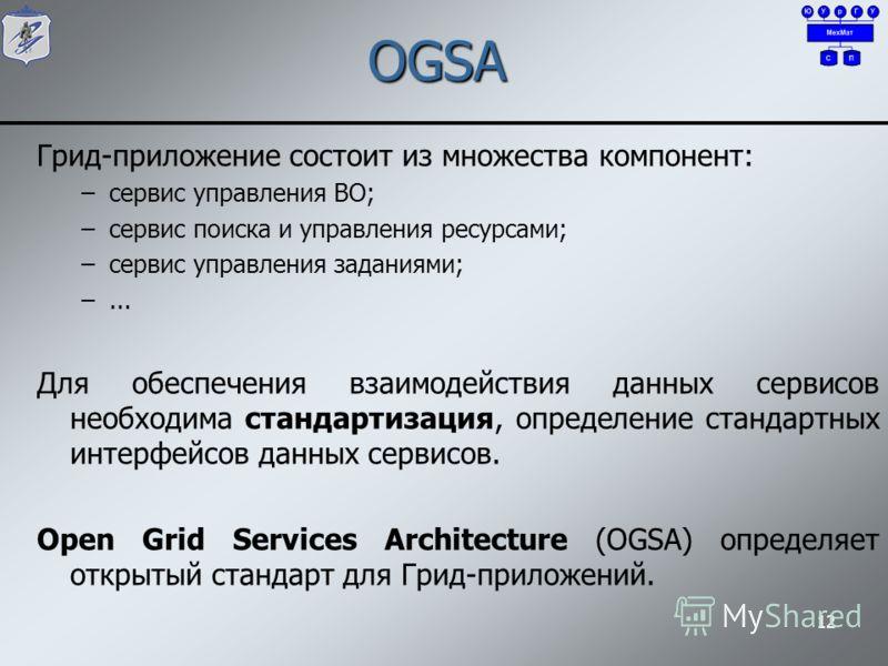 OGSA Грид-приложение состоит из множества компонент: –сервис управления ВО; –сервис поиска и управления ресурсами; –сервис управления заданиями; –... Для обеспечения взаимодействия данных сервисов необходима стандартизация, определение стандартных ин