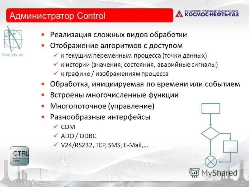 Control-Manager Реализация сложных видов обработки Отображение алгоритмов с доступом к текущим переменным процесса (точки данных) к истории (значения, состояния, аварийные сигналы) к графике / изображениям процесса Обработка, инициируемая по времени