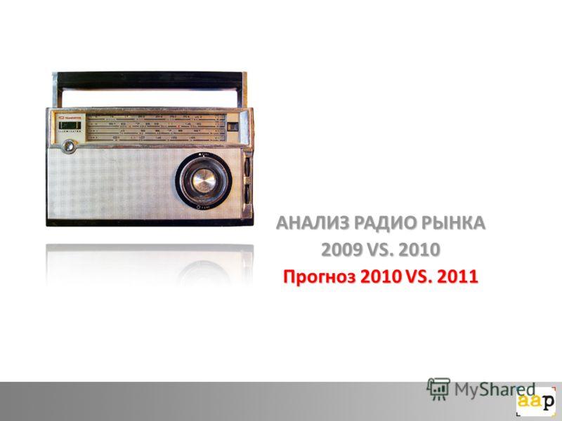 АНАЛИЗ РАДИО РЫНКА 2009 VS. 2010 Прогноз 2010 VS. 2011