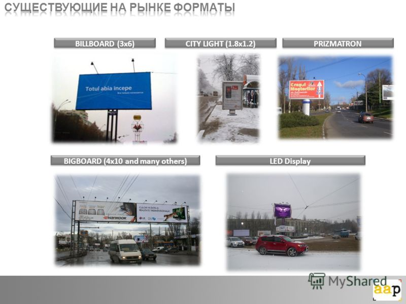 BILLBOARD (3x6)CITY LIGHT (1.8x1.2)PRIZMATRON BIGBOARD (4x10 and many others)LED Display