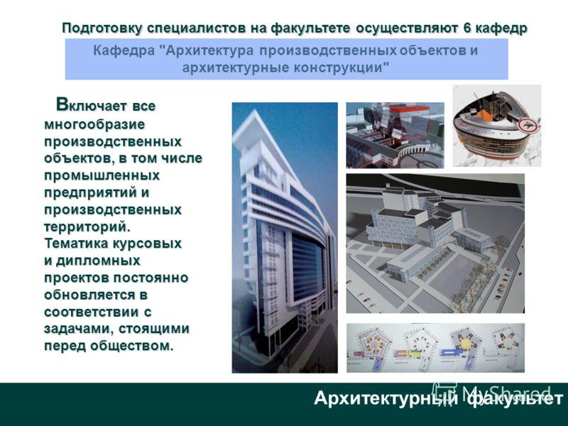 Архитектурный факультет Подготовку специалистов на факультете осуществляют 6 кафедр Кафедра