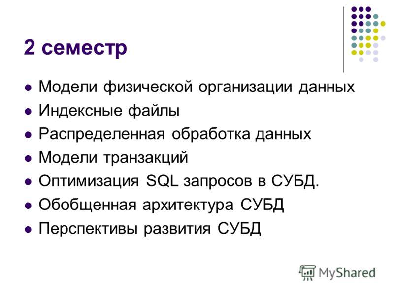 2 семестр Модели физической организации данных Индексные файлы Распределенная обработка данных Модели транзакций Оптимизация SQL запросов в СУБД. Обобщенная архитектура СУБД Перспективы развития СУБД