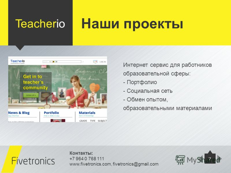 Контакты: +7 964 0 768 111 www.fivetronics.com, fivetronics@gmail.com 7 Teacherio Интернет сервис для работников образовательной сферы: - Портфолио - Социальная сеть - Обмен опытом, образовательными материалами Наши проекты