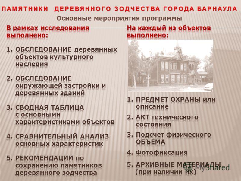 ПАМЯТНИКИ ДЕРЕВЯННОГО ЗОДЧЕСТВА ГОРОДА БАРНАУЛА Основные мероприятия программы
