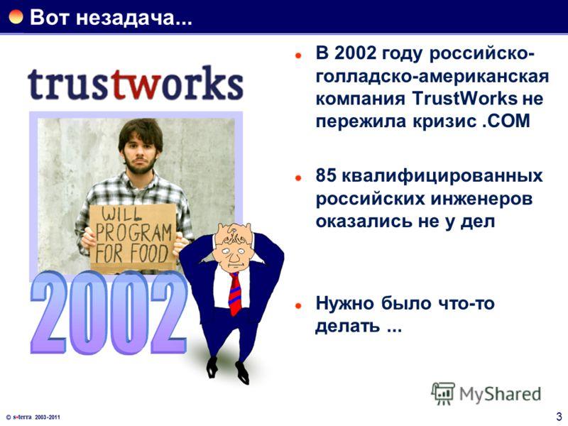 3 Вот незадача... В 2002 году российско- голладско-американская компания TrustWorks не пережила кризис.COM 85 квалифицированных российских инженеров оказались не у дел Нужно было что-то делать...