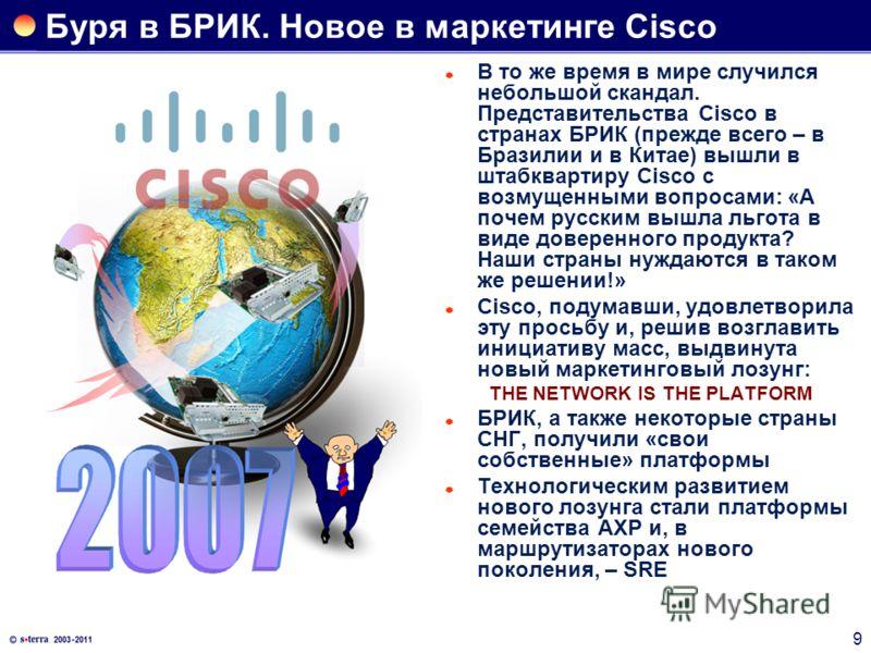 9 Буря в БРИК. Новое в маркетинге Cisco В то же время в мире случился небольшой скандал. Представительства Cisco в странах БРИК (прежде всего – в Бразилии и в Китае) вышли в штабквартиру Cisco с возмущенными вопросами: «А почем русским вышла льгота в
