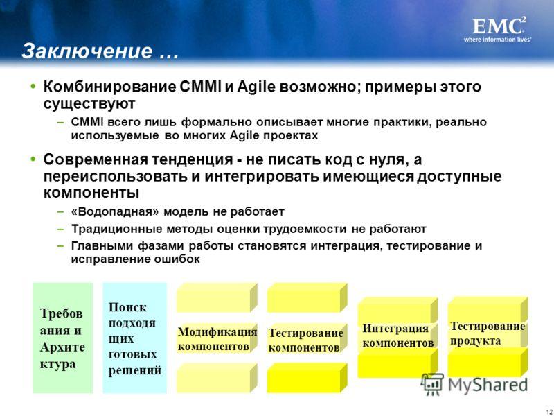 12 Комбинирование CMMI и Agile возможно; примеры этого существуют –CMMI всего лишь формально описывает многие практики, реально используемые во многих Agile проектах Современная тенденция - не писать код с нуля, а переиспользовать и интегрировать име