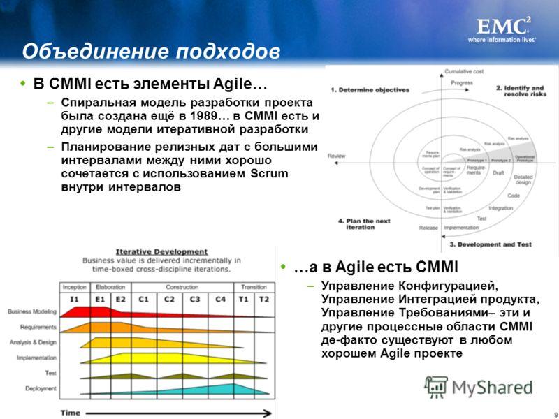 9 В CMMI есть элементы Agile… –Спиральная модель разработки проекта была создана ещё в 1989… в CMMI есть и другие модели итеративной разработки –Планирование релизных дат с большими интервалами между ними хорошо сочетается с использованием Scrum внут