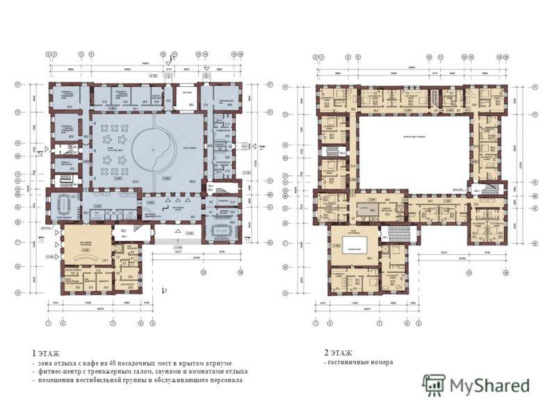 1 ЭТАЖ - зона отдыха с кафе на 40 посадочных мест в крытом атриуме - фитнес-центр с тренажерным залом, саунами и комнатами отдыха - помещения вестибюльной группы и обслуживающего персонала 2 ЭТАЖ - гостиничные номера