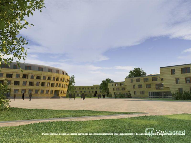 Разнообразные по форме здания выглядят целостным ансамблем благодаря единству фасадной пластики и отделочных материалов