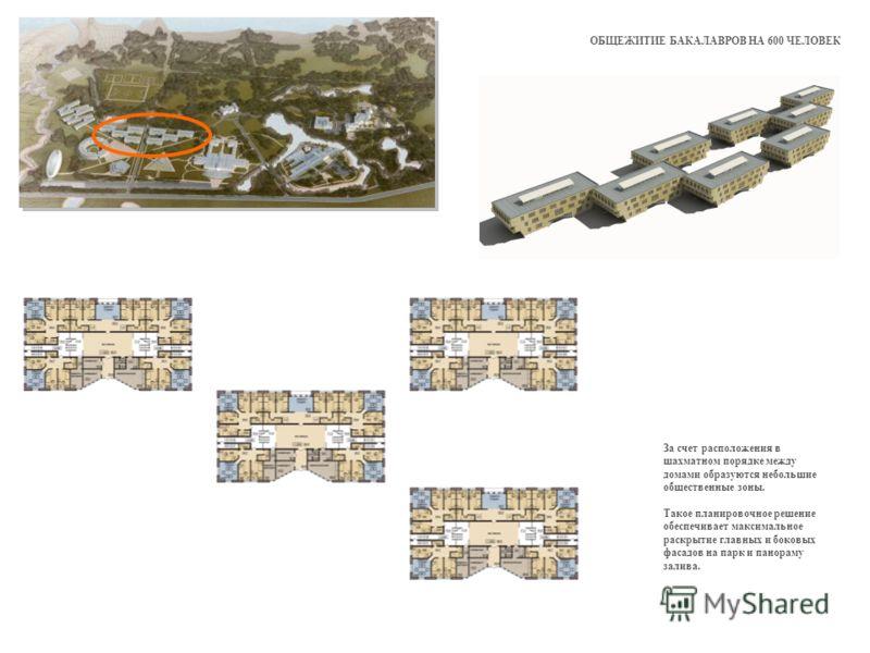 ОБЩЕЖИТИЕ БАКАЛАВРОВ НА 600 ЧЕЛОВЕК За счет расположения в шахматном порядке между домами образуются небольшие общественные зоны. Такое планировочное решение обеспечивает максимальное раскрытие главных и боковых фасадов на парк и панораму залива.