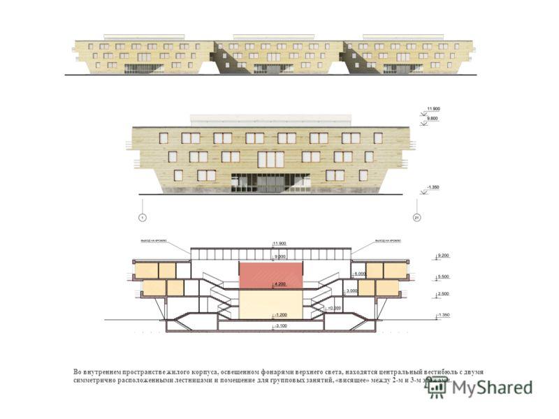 Во внутреннем пространстве жилого корпуса, освещенном фонарями верхнего света, находятся центральный вестибюль с двумя симметрично расположенными лестницами и помещение для групповых занятий, «висящее» между 2-м и 3-м этажами.