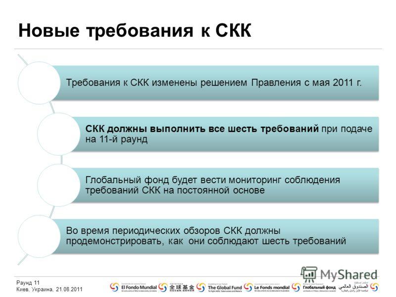 Раунд 11 Киев, Украина, 21.08.2011 Новые требования к СКК Требования к СКК изменены решением Правления с мая 2011 г. СКК должны выполнить все шесть требований при подаче на 11-й раунд Глобальный фонд будет вести мониторинг соблюдения требований СКК н