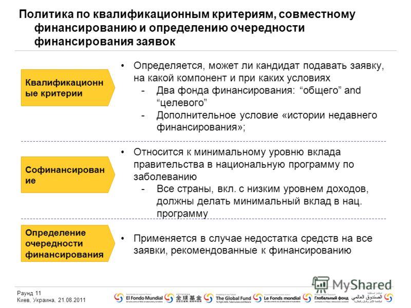 Раунд 11 Киев, Украина, 21.08.2011 Политика по квалификационным критериям, совместному финансированию и определению очередности финансирования заявок Определяется, может ли кандидат подавать заявку, на какой компонент и при каких условиях -Два фонда