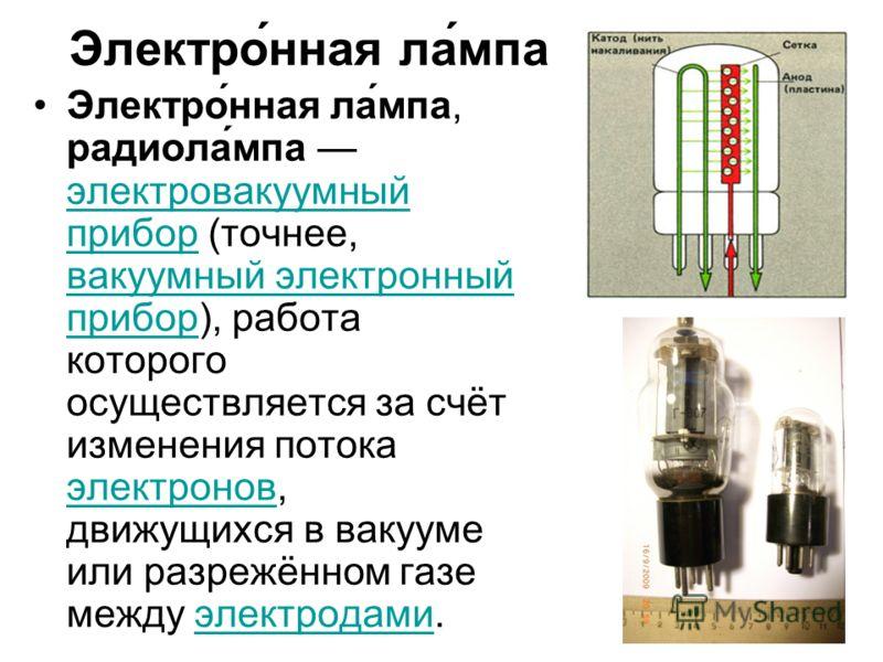 Электро́нная ла́мпа Электро́нная ла́мпа, радиола́мпа электровакуумный прибор (точнее, вакуумный электронный прибор), работа которого осуществляется за счёт изменения потока электронов, движущихся в вакууме или разрежённом газе между электродами. элек