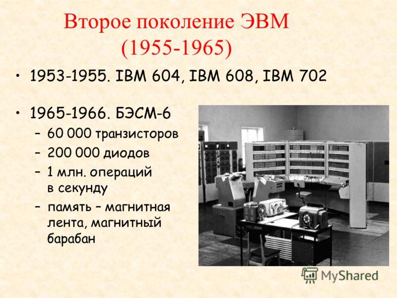 Второе поколение ЭВМ (1955-1965) 1953-1955. IBM 604, IBM 608, IBM 702 1965-1966. БЭСМ-6 –60 000 транзисторов –200 000 диодов –1 млн. операций в секунду –память – магнитная лента, магнитный барабан