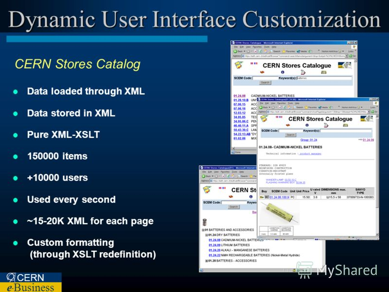CERN e – Business Dynamic User Interface Customization CERN Stores Catalog Data loaded through XML Data stored in XML Pure XML-XSLT 150000 items +10000 users Used every second ~15-20K XML for each page Custom formatting (through XSLT redefinition)
