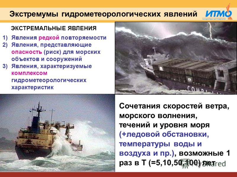 Экстремумы гидрометеорологических явлений 1)Явления редкой повторяемости 2)Явления, представляющие опасность (риск) для морских объектов и сооружений 3)Явления, характеризуемые комплексом гидрометеорологических характеристик Сочетания скоростей ветра