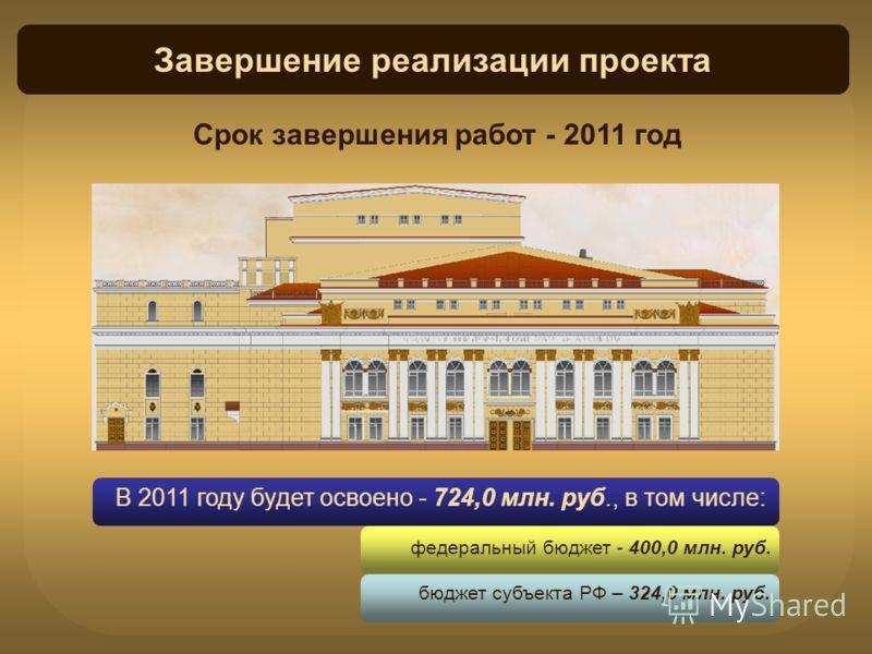Завершение реализации проекта В 2011 году будет освоено - 724,0 млн. руб., в том числе: федеральный бюджет - 400,0 млн. руб. бюджет субъекта РФ – 324,0 млн. руб. Срок завершения работ - 2011 год