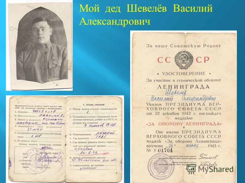 Мой дед Шевелёв Василий Александрович