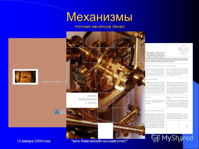 14 января 2006 годавесь банк-целый год-один отчет17 Механизмы точная механика денег