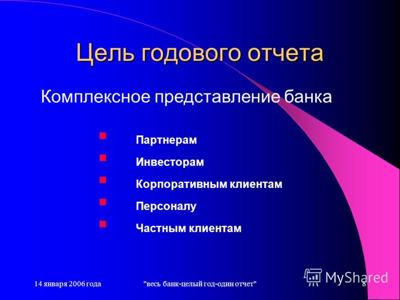 14 января 2006 годавесь банк-целый год-один отчет8 Цель годового отчета Партнерам Инвесторам Корпоративным клиентам Персоналу Частным клиентам Комплексное представление банка