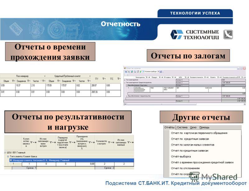 Подсистема СТ.БАНК.ИТ. Кредитный документооборот Отчеты по залогам Отчеты о времени прохождения заявки Другие отчеты Отчетность Отчеты по результативности и нагрузке