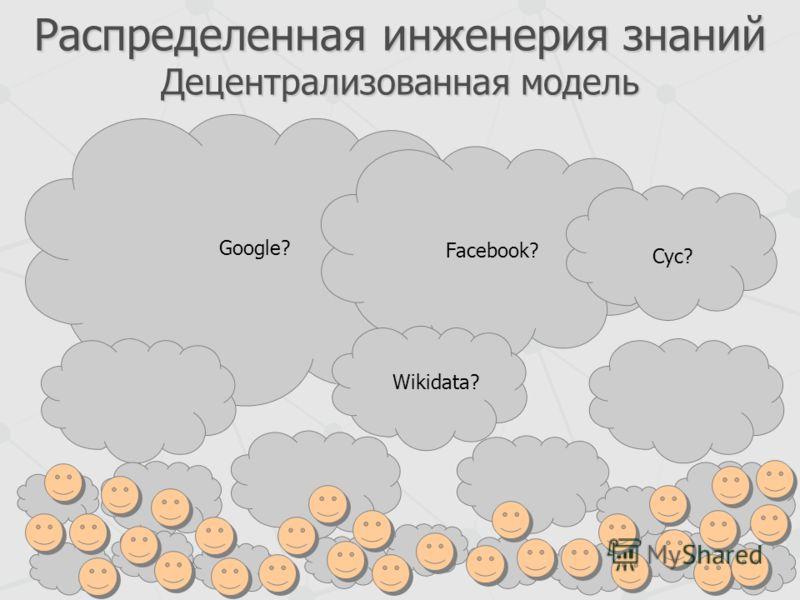 Распределенная инженерия знаний Децентрализованная модель Google? Facebook? Cyc? Wikidata?