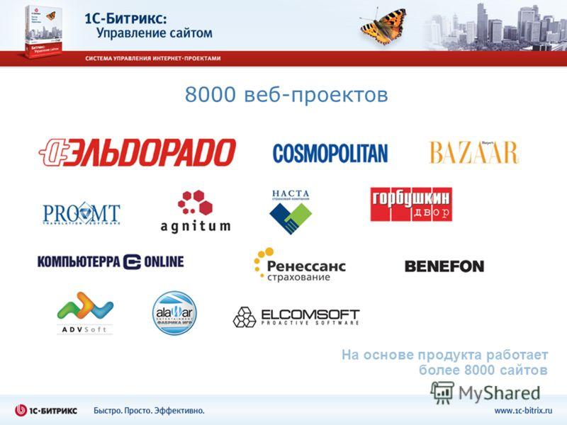 8000 веб-проектов На основе продукта работает более 8000 сайтов