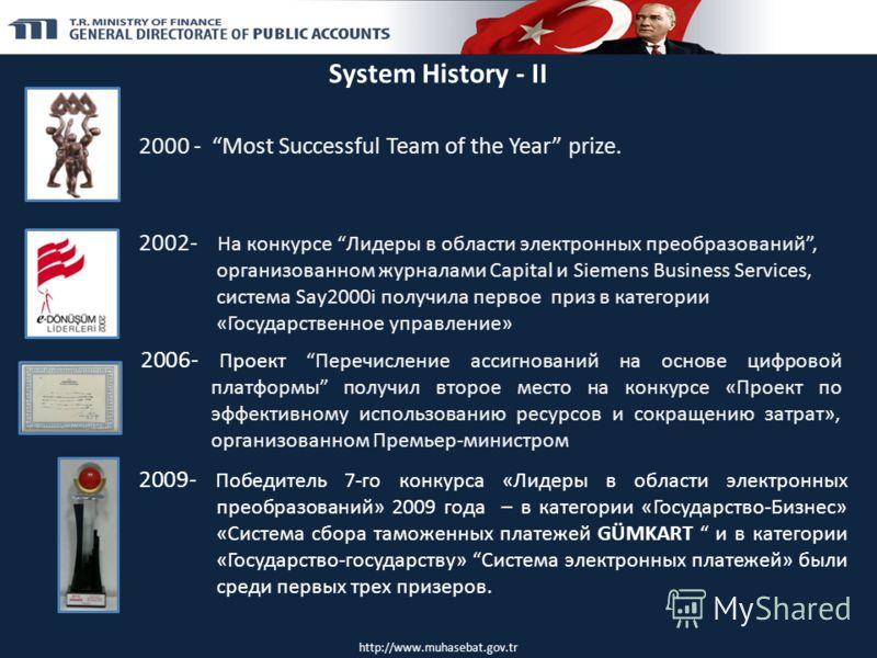 System History - II 2000 - Most Successful Team of the Year prize. 2002- На конкурсе Лидеры в области электронных преобразований, организованном журналами Capital и Siemens Business Services, система Say2000i получила первое приз в категории «Государ