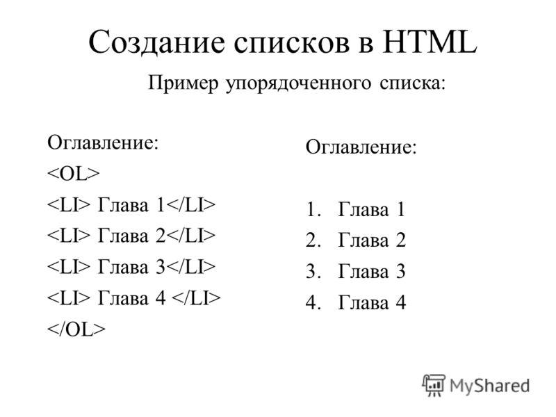 Создание списков в HTML Пример упорядоченного списка: Оглавление: Глава 1 Глава 2 Глава 3 Глава 4 Оглавление: 1.Глава 1 2.Глава 2 3.Глава 3 4.Глава 4