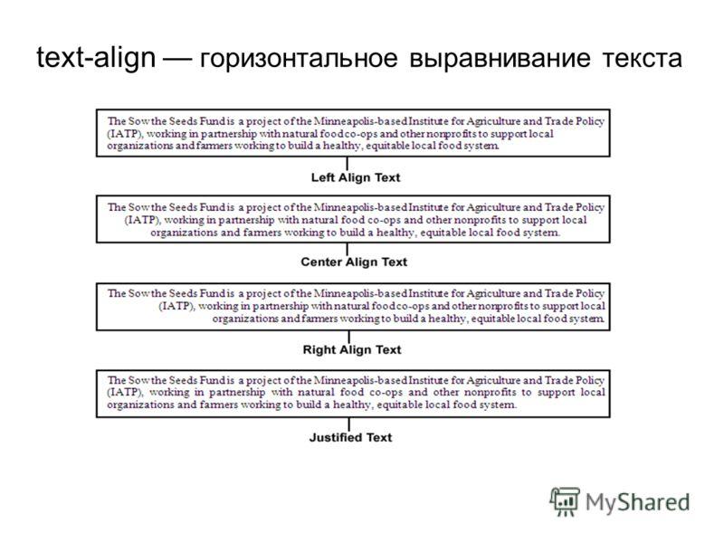 text-align горизонтальное выравнивание текста
