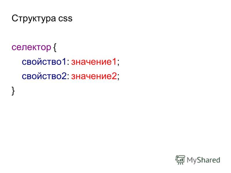 Структура css селектор { свойство1: значение1; свойство2: значение2; }
